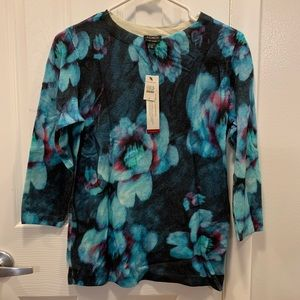 Talbots cashmere floral sweater NWT
